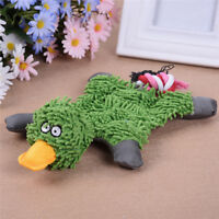 UK_ PET DOG TOY SOFT PLUSH DUCK PUPPY CAT CHEWING SQUEAKER SQUEAKY TOY WITH ROPE