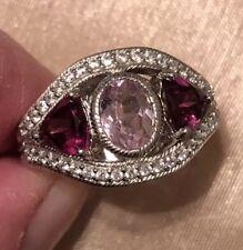 Retired Judith Ripka Sterling Silver Kunzite & Rhodolite 3.00 cttw Ring Size 7