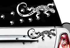 2x Gecko 20 x 8 cm Autocollants Pour Voiture Hawaï Sticker Tattoo Gekko HIBISCUS