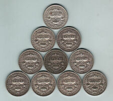 Australia. 1927 Canberra Florin x 10 Coins.. Grades - Average Circ or Better
