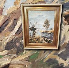 dipinto a olio MONACO Isar, Altwasser in den isarauen. signiertes, Bello quadro