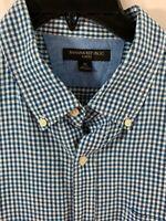 Men's Banana Republic Slim Fit Blue Aqua Checked Linen Blend Shirt Size XL
