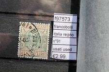 FRANCOBOLLI REGNO N°91 USATI USED (F97573)