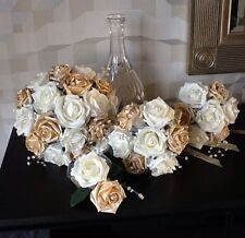 WEDDING FLOWERS BRIDES IVORY/PEARLISED GOLD FOAM ROSE BRIDAL BOUQUET PACKAGE