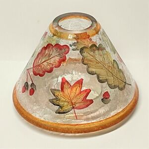 Yankee Candle AUTUMN LEAVES CRACKLE GLASS Large Jar CANDLE SHADE Thanksgiving