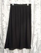 VERY BLACK SEMI-SHEER CHIFFON LINED SLITTED PULL-UP LONG MAXI SKIRT DRESS~1X~NEW