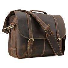 "Vintage Leather Men Business Travel 15.6"" Laptop Briefcase Messenger Bag Satchel"