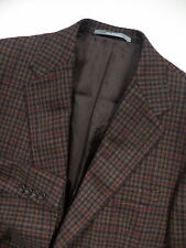 HICKEY FREEMAN MENS 40 R  BLAZER COAT JACKET WORSTED WOOL BROWN CHECK PLAID USA