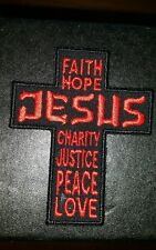JESUS CROSS FAITH HOPE MOTORCYCLE BIKER EMBROIDERED VEST PATCH