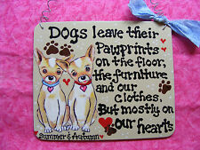 "CHIHUAHUA SIGN w/DOG'S NAME ""PAWPRINTS ON OUR HEARTS  5X6""  HANDMADE"