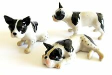 French Bulldogs Black & White Miniature Porcelain Hand Painted Dog Figurine Set3
