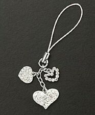 Crystal Hearts Silver Plated Dangle Cell Phone Charm Christmas Gifts Love New