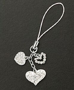 Crystal Hearts Silver Plated Dangle Cell Phone Charm Strap Christmas Gift Love