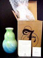 Fenton Art Glass Dave Fetty Connoisseur Caribbean Day Vase New Mint In Box
