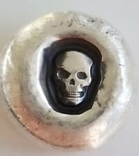 1 oz .999 Silver hand poured sunken skull 3d memento mori pirate treasure nugget