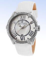 TED LAPIDUS Womens A0511RARFSM Stainless Steel Crystal White Leather Swiss Watch