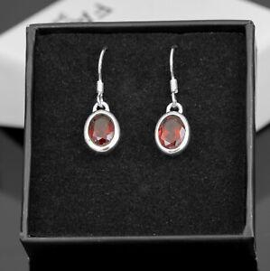 Sterling Silver 925 Ladies Oval Gemstone Red Garnet Drop Earrings Jewellery