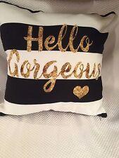 """Black & White Stripe Indoor 14"""" x 14"""" HELLO GORGEOUS Square Throw Pillow"""