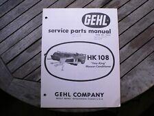 Gehl Hk108 Hay King Mower Conditioner Service Repair Parts Manual Catalog List