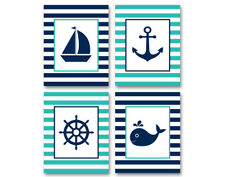 4 prints, gender neutral nautical art for kids - boat, whale, anchor, ship wheel
