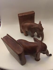 Pair Of Heavy Wooden Elephant Book Ends