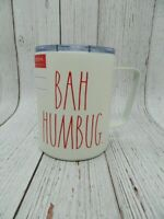 Rae Dunn Red Bah Humbug Christmas White Holiday Stainless Mug Tumbler NEW