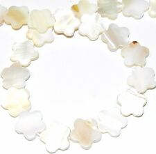 """MP966f Natural White 15mm Flat Flower Mother of Pearl Shell Beads 15"""""""