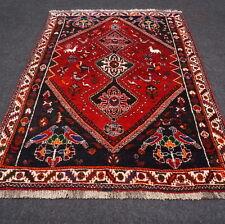 Orient Teppich Dunkelrot 175 x 120 cm Blau Perserteppich Handgeknüpft Carpet Rug