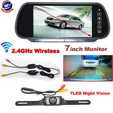 "7"" LCD Monitor/Mirror Car Wireless Backup Rear View Camera Parking Reverse Kit"