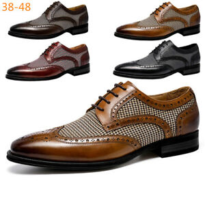 Men's Classic Brogue Modern Formal Oxford Wingtip Lace Up Business Dress Shoes