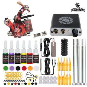 Dragonhawk Tattoo Kit Set Supply Machine Gun Power Supply Needles Color Ink Grip