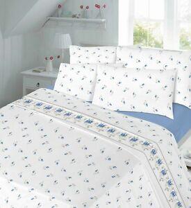 Rosebud Printed Flannelette Sheet Set 100% Brushed Cotton Thermal Bed Sheet Set