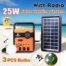25W Portable Solar System Generator Panel FM Radio Storage Charger USB LED Lamp