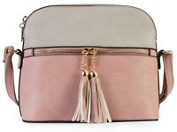 Mabel - Womens Cross-Body Bag - 100% Vegan PU Leather - Tassel & Zip Detail