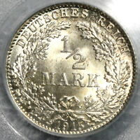 1915-D PCGS MS 66 GERMANY Silver 1/2 Mark WWI Kaiser Reich Coin (18081202C)