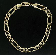 "NEW Men's 14K Solid Yellow Gold 8.5"" 6.75mm Figaro Link Chain Bracelet 14.1g"