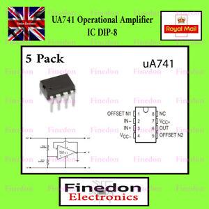 5 Qty LM741 Op Amp IC (741, UA741) OP AMP IC UK Seller