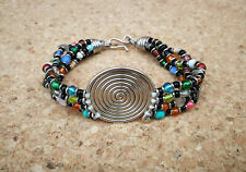 4-Strand Bracelet with Multi-Coloured Glass Maasai Beads & Silver Copper Coil