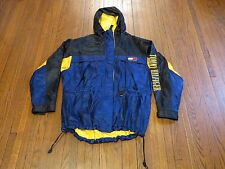 VTG 90's Tommy Hilfiger Black Yellow Blue Spell Out Windbreaker Jacket sz L