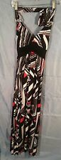 Studio Y Light Stretch Halter Maxi Summer Dress Black White Red Print sz M