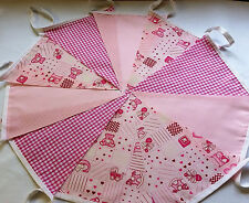 Fabric Bunting  PINK Baby Shower Christening 10ft 3m  Handmade PINK  single ply