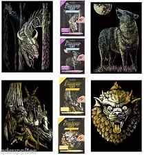 SET 4 ENGRAVING ART KITS A5 HOLOGRAPHIC DRAGON WOLF GOLD GNOME & FAIRY GARGOYLE