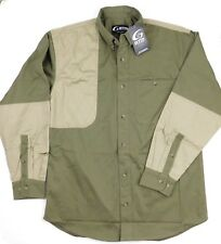 GTM Sportswear Quilted Shoulder Rifle Shooting Hunting Green Tan Shirt Medium