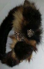 Real Mink Fur Fox Fur Headband & Rosettes NOT A HEAD WRAP