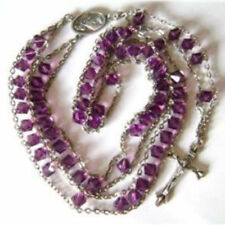 Ladder to Heaven purple Crystal BEADS ROSARY & CROSS CRUCIFIX CATHOLIC NECKLACE