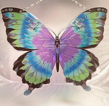 joan baker stained glass, green and magenta BUTTERFLY sun catcher 9x8 with holes