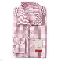 NWT $475 MATTABISCH by KITON Red-White Grid Check Cotton Shirt 17 Modern-Fit