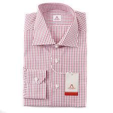 NWT $475 MATTABISCH by KITON Red-White Grid Check Cotton Shirt 16 Modern-Fit
