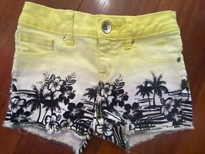 girls JUSTICE DENIM JEAN SHORTS palm tree YELLOW OMBRE black STRETCHY size 10