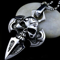 Men's Stainless Steel Cross Skull Head Pendant Charm Necklace Chain Jewelry Gift